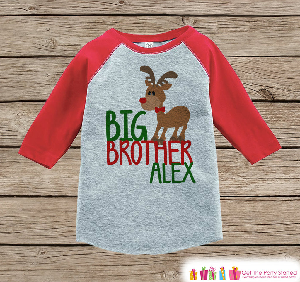 Big Brother Christmas Outfit - Custom Holiday Onepiece or Shirt - Kids Reindeer Shirt for Boys - Big Brother Little Brother Outfits