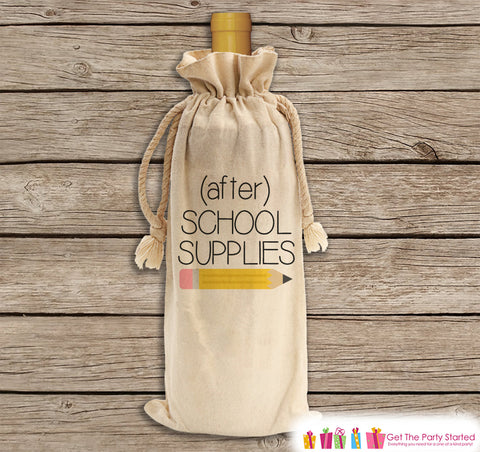 After School Supplies for Teacher - Wine Gift Bag - Canvas Wine Bag - Funny Wine Gift Bag - Wine Lover Gift Idea - Wine Tote - Holiday Gift