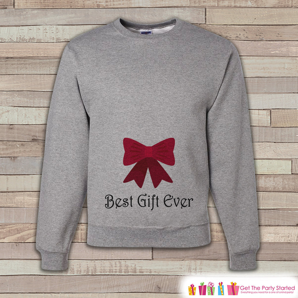 Best Gift Ever Sweatshirt - Adult Christmas Crewneck, Sweatshirt - Bow Christmas Sweater - Funny Holiday Sweatshirt - Holiday Gift Idea - Get The Party Started