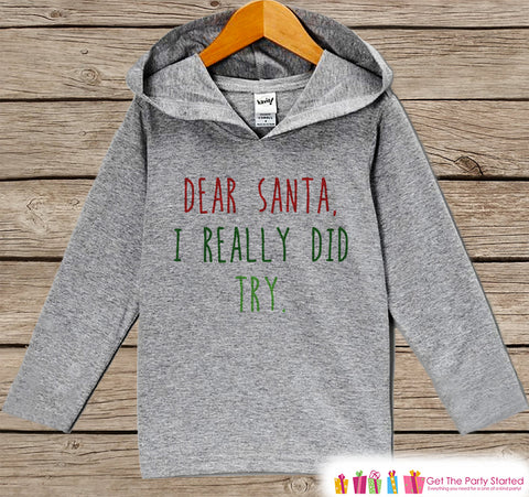 Funny Dear Santa Christmas Outfit - Grey Christmas Sweater - Kids Hoodie Pullover - Holiday Shirt for Baby, Toddler, Youth - Winter Hoodie