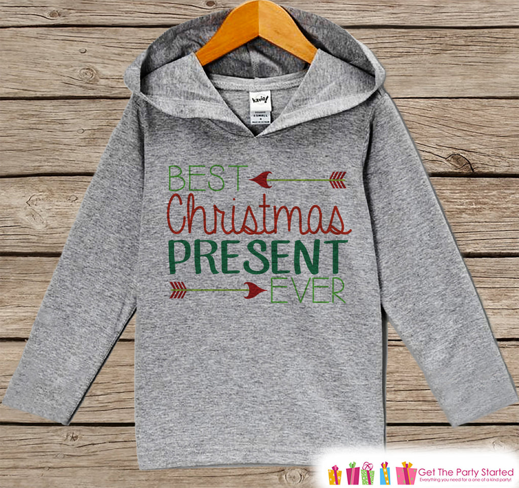 Best Present Ever - Kids Hoodie Pullover - Grey Christmas Sweater - Christmas Pregnancy Announcement - Holiday Outfit - Baby, Toddler, Youth