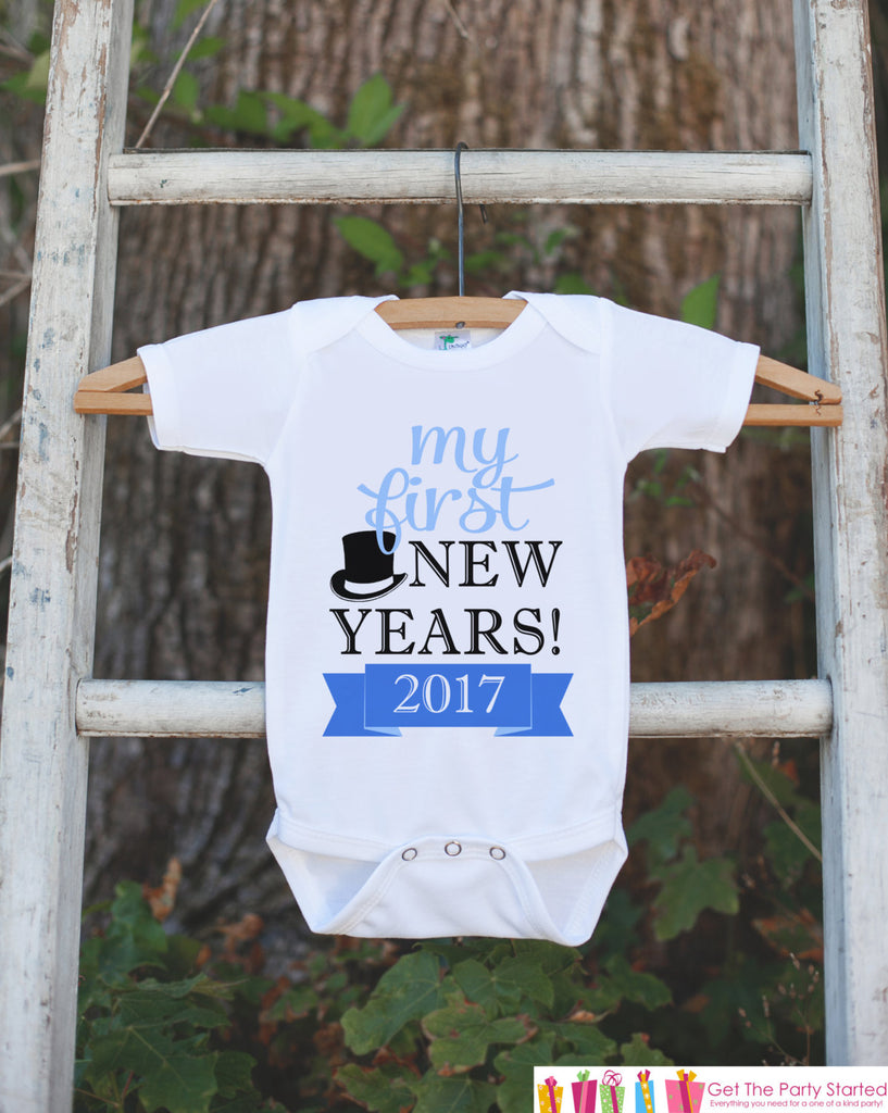 My First New Years Outfit - Happy New Years Eve Onepiece - Baby's First Holiday - 1st New Year Bodysuit for Baby Boys - Blue & Black Tophat