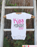 Kiss Me at Midnight Outfit for Girls - 2017 Happy New Year Onepiece - New Years Shirt For Infant or Toddler - Childs 1st New Year Outfit - Get The Party Started