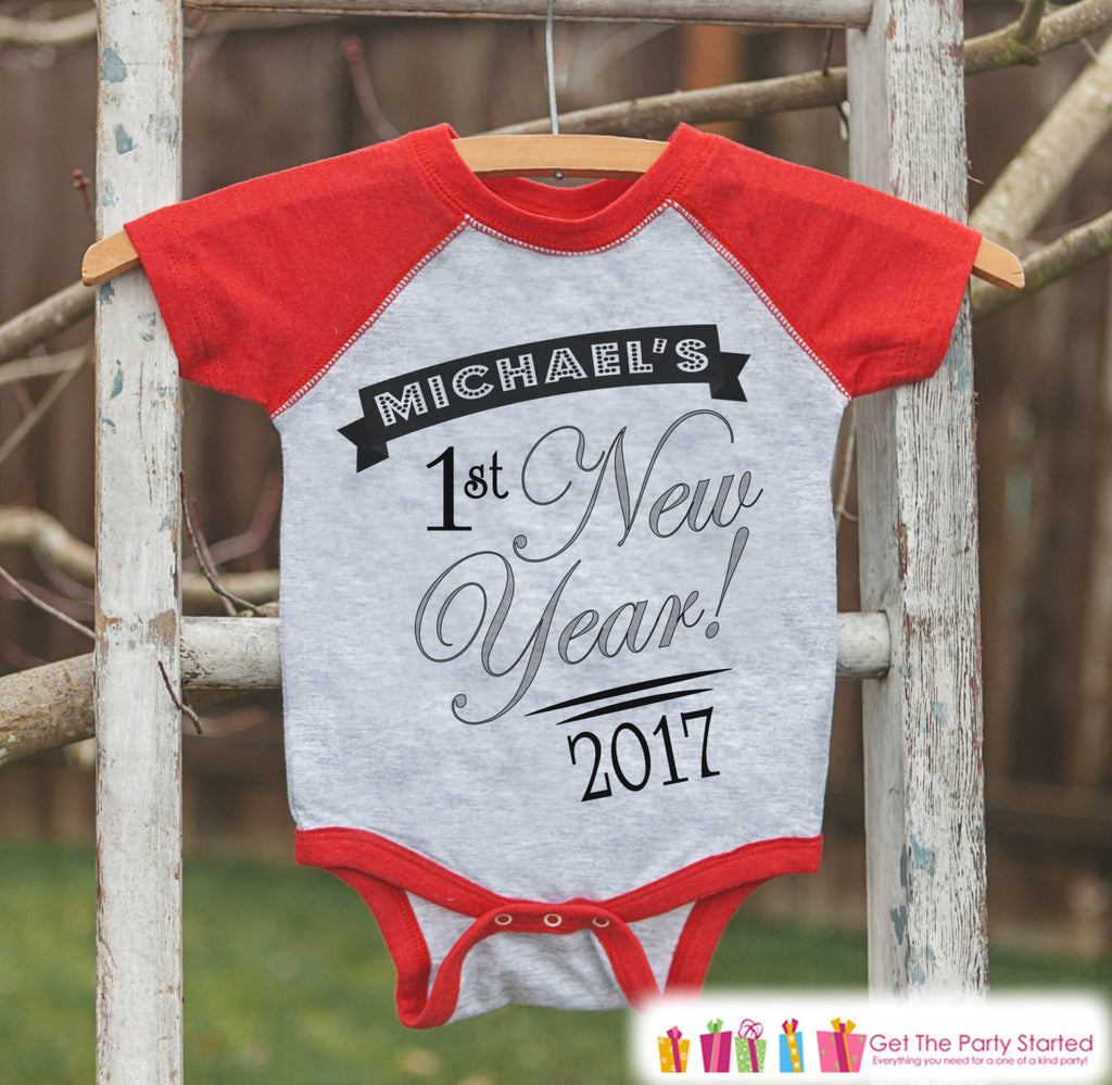 My First New Year Outfit - Personalized New Year's Eve Onepiece or Shirt - Baby's First Holiday with Name - Kids Raglan - Baby Baseball Tee - Get The Party Started