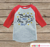Babys First New Years Outfit - 2017 Happy New Years Eve Onepiece - Babys First Holiday - 1st New Year Bodysuit for Girls - Red Baseball Tee - Get The Party Started