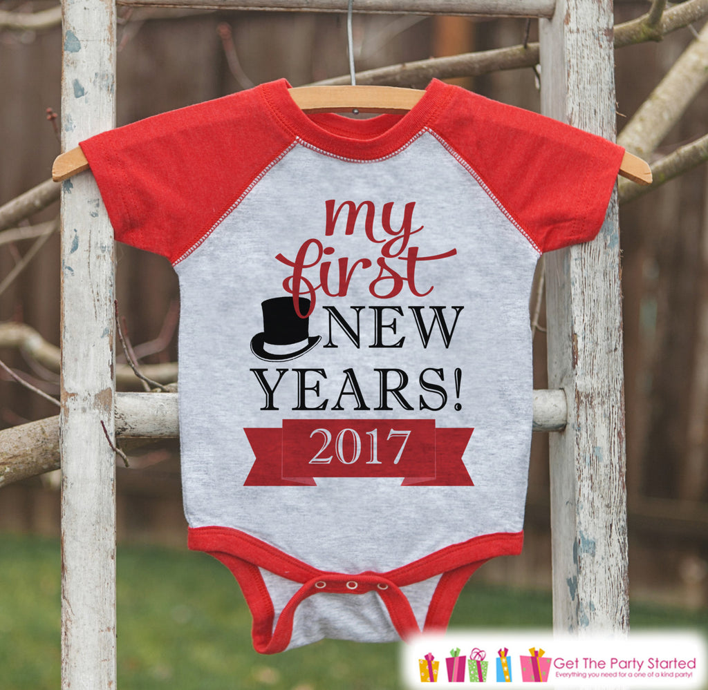 My First New Year Outfit - Personalized New Year's Eve Onepiece or Shirt - Baby's First Holiday with Name - Kids Raglan - Red Baseball Tee