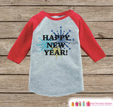 Happy New Year Outfit - New Years Eve Onepiece With Fireworks - 1st New Year Outfit for Baby Boys or Baby Girls - Red Baseball Tee, Raglan - Get The Party Started