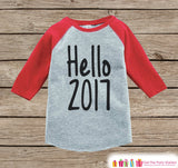 Hello 2017 - Happy New Year Outfit - New Years Eve Onepiece - 1st New Year Outfit for Baby Boys or Baby Girls - Red Baseball Tee - Get The Party Started