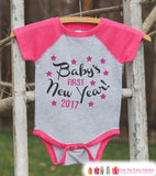 Babys First New Years Outfit - 2017 Happy New Years Eve Onepiece - Babys First Holiday - 1st New Year Bodysuit for Girls - Pink Baseball Tee - Get The Party Started