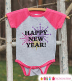 Happy New Year Outfit - New Years Eve Onepiece With Fireworks - 1st New Year Outfit for Baby Boys or Baby Girls - Pink Baseball Tee, Raglan - Get The Party Started