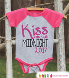 Kiss Me At Midnight - New Years 2017 - New Years Eve Onepiece or Shirt - 1st New Year Outfit for Baby Boys - Pink Baseball Tee - Pink Raglan - Get The Party Started