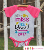 Little Miss New Year 2017 - New Years Eve Onepiece - Kids New Years Shirt - New Year Outfit for Baby Girls - Pink Baseball Tee - Pink Raglan - Get The Party Started