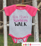 New Year's Resolution Outfit  - Learn To Walk - New Years Eve Onepiece or Shirt - New Year Outfit for Baby - Pink Baseball Tee - Pink Raglan - Get The Party Started