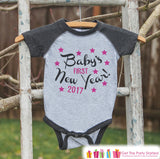 Babys First New Years Outfit - 2017 Happy New Years Eve Onepiece - Babys First Holiday - 1st New Year Bodysuit for Girls - Grey Baseball Tee - Get The Party Started