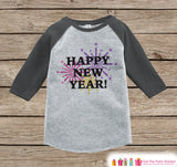 Happy New Year Outfit - New Years Eve Onepiece With Fireworks - 1st New Years Outfit for Baby Boys or Baby Girls - Grey Baseball Tee, Raglan - Get The Party Started