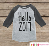 Hello 2017 - Happy New Year Outfit - New Years Eve Onepiece - 1st New Year Outfit for Baby Boys or Baby Girls - Grey Baseball Tee - Get The Party Started