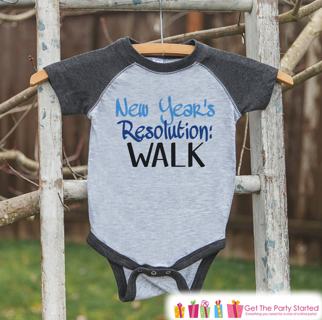 New Year's Resolution - Blue Learn To Walk - New Years Eve Onepiece or Shirt - New Year Outfit for Baby - Grey Baseball Tee - Grey Raglan - Get The Party Started