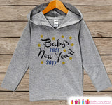 Baby's First New Year Outfit - Happy New Years - Personalized Kid Pullover - Baby New Year's Outfit - Hoodie for Baby Girls - Grey Hoodie - Get The Party Started