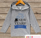 My First New Years Outfit - Blue New Years 2017 - Kids Pullover - Baby New Year's Outfit - Hoodie for Baby or Toddler - Grey Hoodie - Get The Party Started