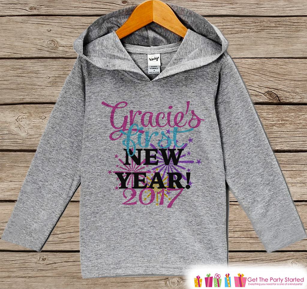 Custom First New Years Outfit - New Years 2017 With Fireworks - Kids Pullover - Baby New Year's Outfit - Grey Hoodie for Baby or Toddler - Get The Party Started