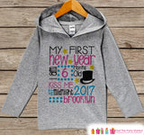 My First New Years Outfit - Personalized New Years Hoodie - Baby New Year's Outfit - Grey Pullover for Baby or Toddler - New Year's 2017 - Get The Party Started