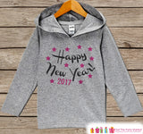 Happy New Years Outfit - New Years With 2017 - Kids Pullover - New Year's Outfit for Baby Girls - Hoodie for Baby or Toddler - Grey Pullover - Get The Party Started