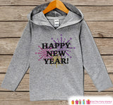 Happy New Year Outfit - New Years With Fireworks - Kids Pullover - Baby New Year's Outfit - Hoodie for Baby or Toddler - Grey Pullover - Get The Party Started