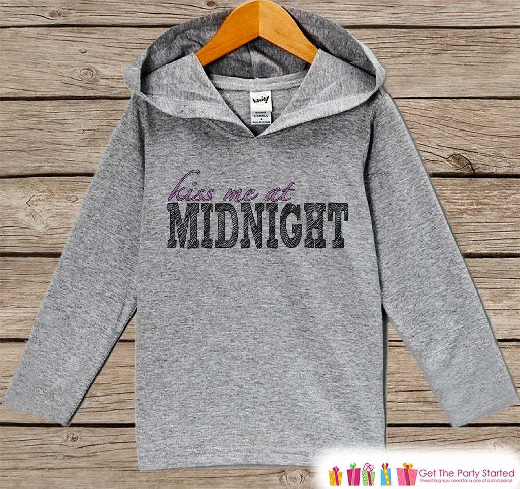 Kiss Me At Midnight - Kids New Years Outfit - New Year's Eve Outfit for Baby Boys or Girls - Pullover for Baby or Toddler - Grey Hoodie - Get The Party Started