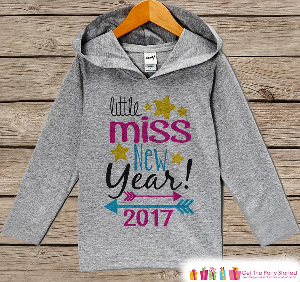 Little Miss New Year Outfit - New Years Eve 2017 - Grey Pullover for Baby Girls - Hoodie for Baby or Toddler - Grey Hoodie - Get The Party Started