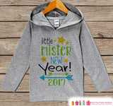 Little Mister New Year Outfit - New Years Eve 2017 - Grey Pullover for Baby Boys - Hoodie for Baby or Toddler - Grey Hoodie - Get The Party Started