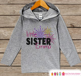 Little Sister New Year Outfit - New Years Eve 2017 - Grey Pullover for Baby Girls - Baby or Toddler Hoodie - Grey Hoodie - Sibling Outfit - Get The Party Started
