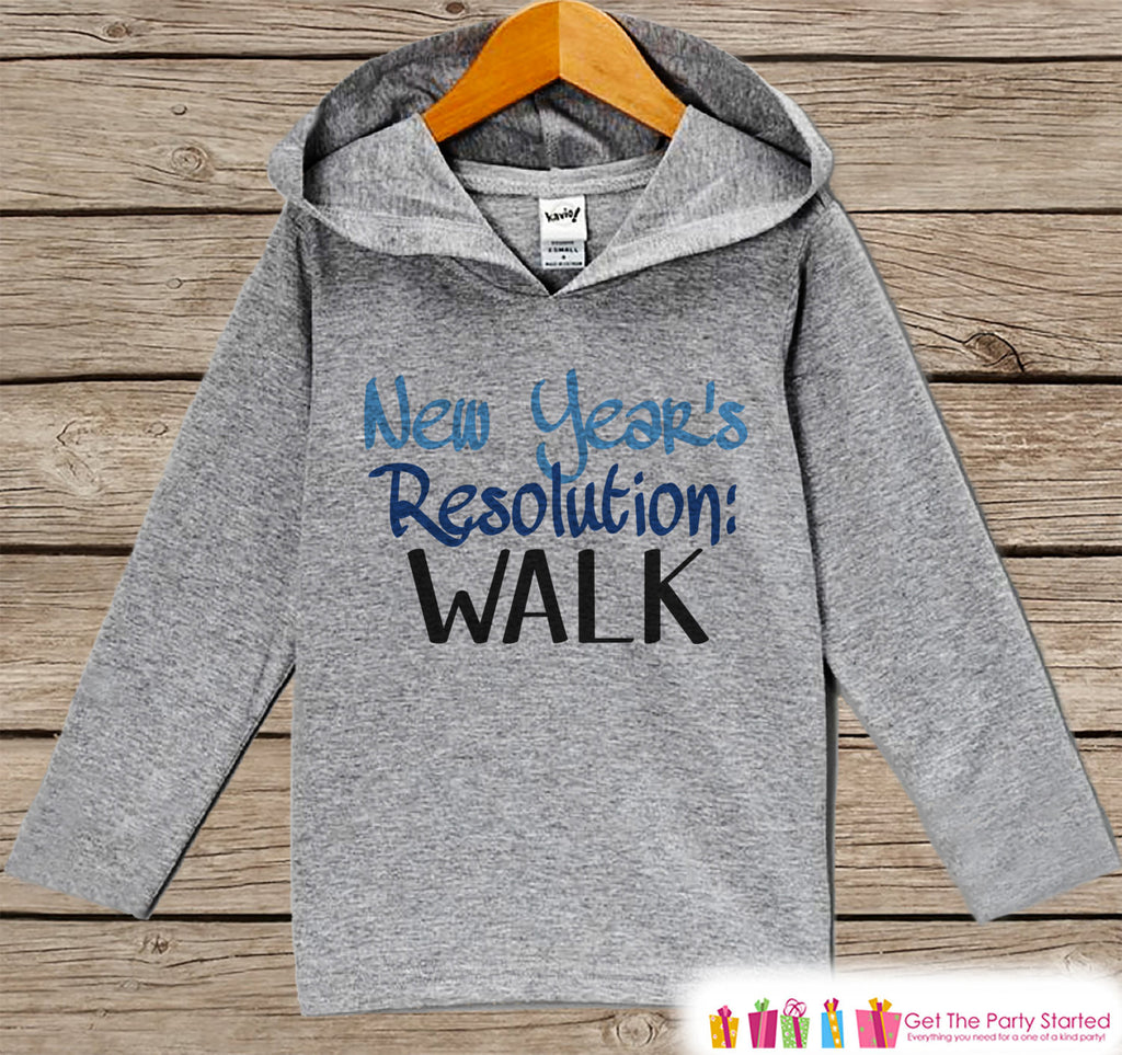 New Years Resolution Outfit - Learn To Walk - Grey Pullover for Baby Boys - Baby or Toddler Hoodie - Grey Hoodie - New Year's Eve Outfit - Get The Party Started