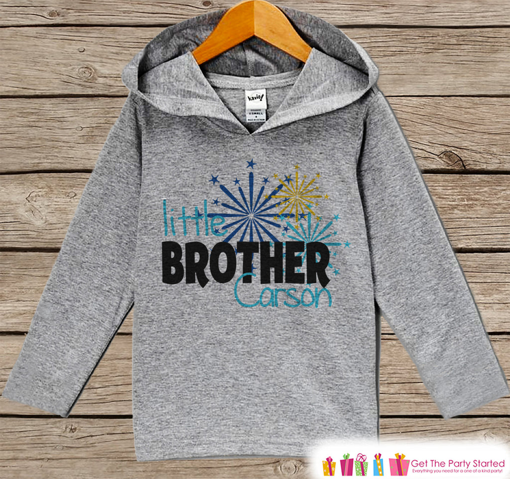 Little Brother New Year Outfit - New Years Eve 2017 - Grey Pullover for Baby Boys - Baby or Toddler Hoodie - Grey Hoodie - Sibling Outfit