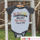 New Years Countdown - Baby Countdown Onepiece - Custom New Years Eve Outfit - Pregnancy Announcement - Baby Reveal - Grey Baseball Tee - Get The Party Started