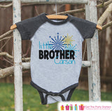 Little Brother Shirt or Onepiece - Sibling Outfits - New Years Shirt with Fireworks - Custom Outfit for Baby Boys - Kids Grey Baseball Tee