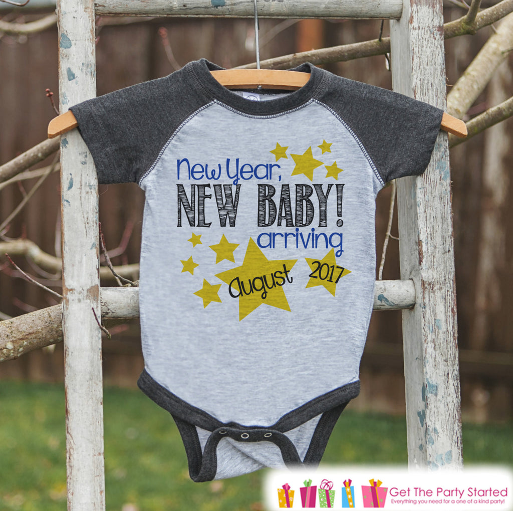 New Year New Baby Arriving Onepiece - Custom New Years Outfit - Pregnancy Announcement - Baby Reveal - Grey Baseball Tee - Kids Grey Raglan - Get The Party Started
