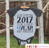 We're Expecting Onepiece - Custom New Years Outfit For Baby Boys - Pregnancy Announcement - Baby Reveal - Grey Baseball Tee - Baby Feet - Get The Party Started