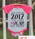 We're Expecting Onepiece - Custom New Years Outfit for Baby Girls - Pregnancy Announcement - Baby Reveal - Pink Baseball Tee - Baby Feet - Get The Party Started
