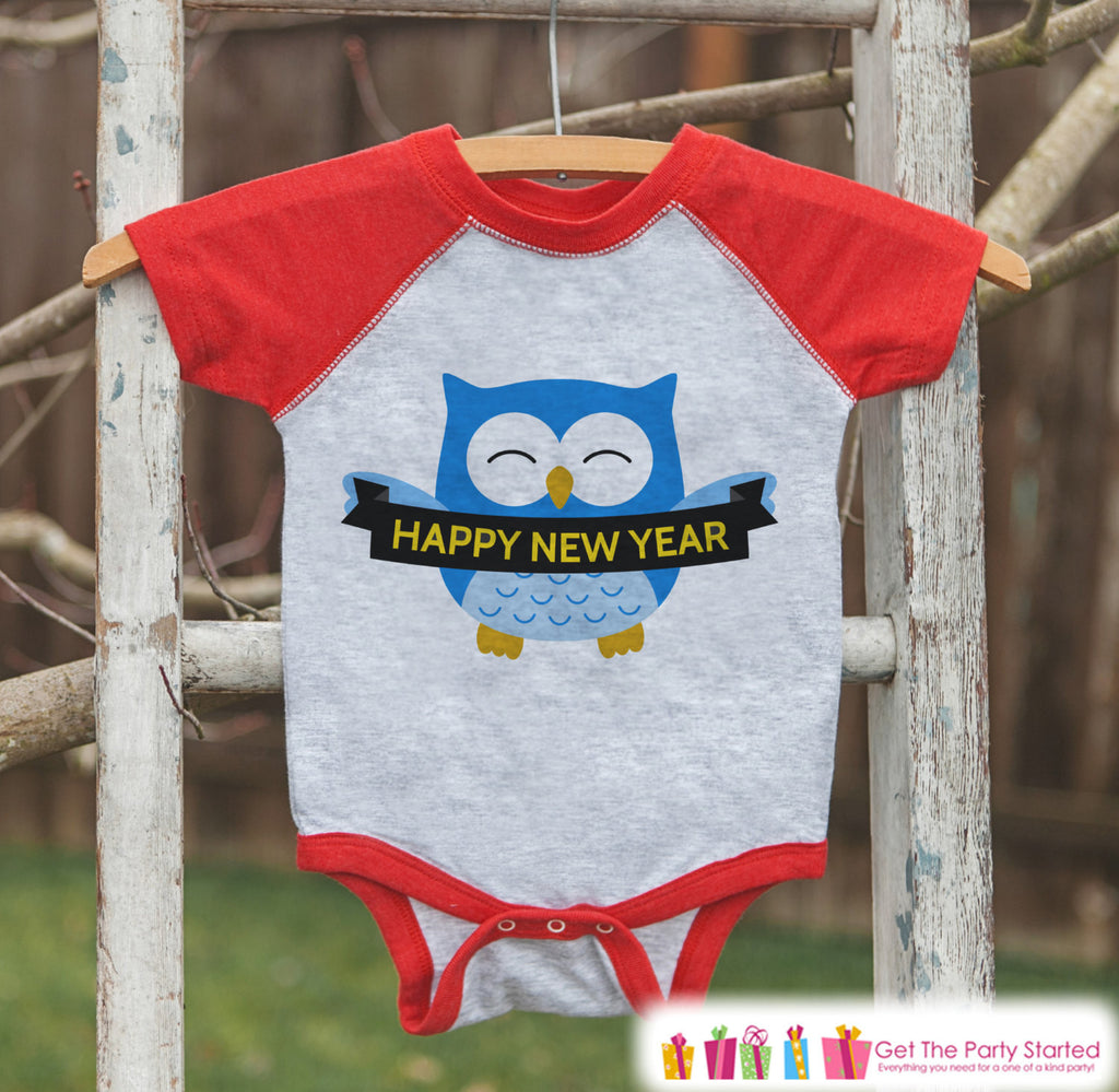 Happy New Year Owl Outfit - New Years Eve Onepiece or Shirt - New Year Outfit for Baby or Toddler - Kids Red Baseball Tee - Red Raglan - Get The Party Started