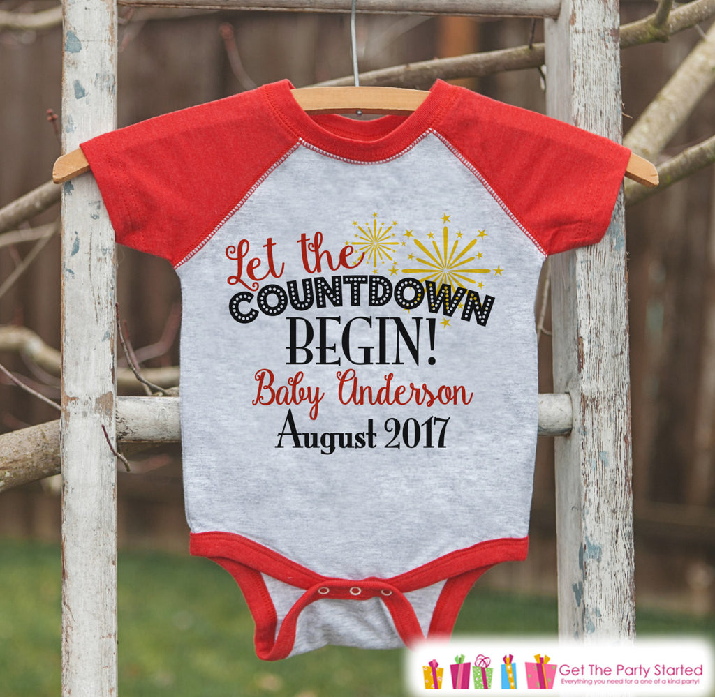 New Years Countdown - Baby Countdown Onepiece - Custom New Years Eve Outfit - Pregnancy Announcement - Baby Reveal - Red Baseball Tee - Get The Party Started