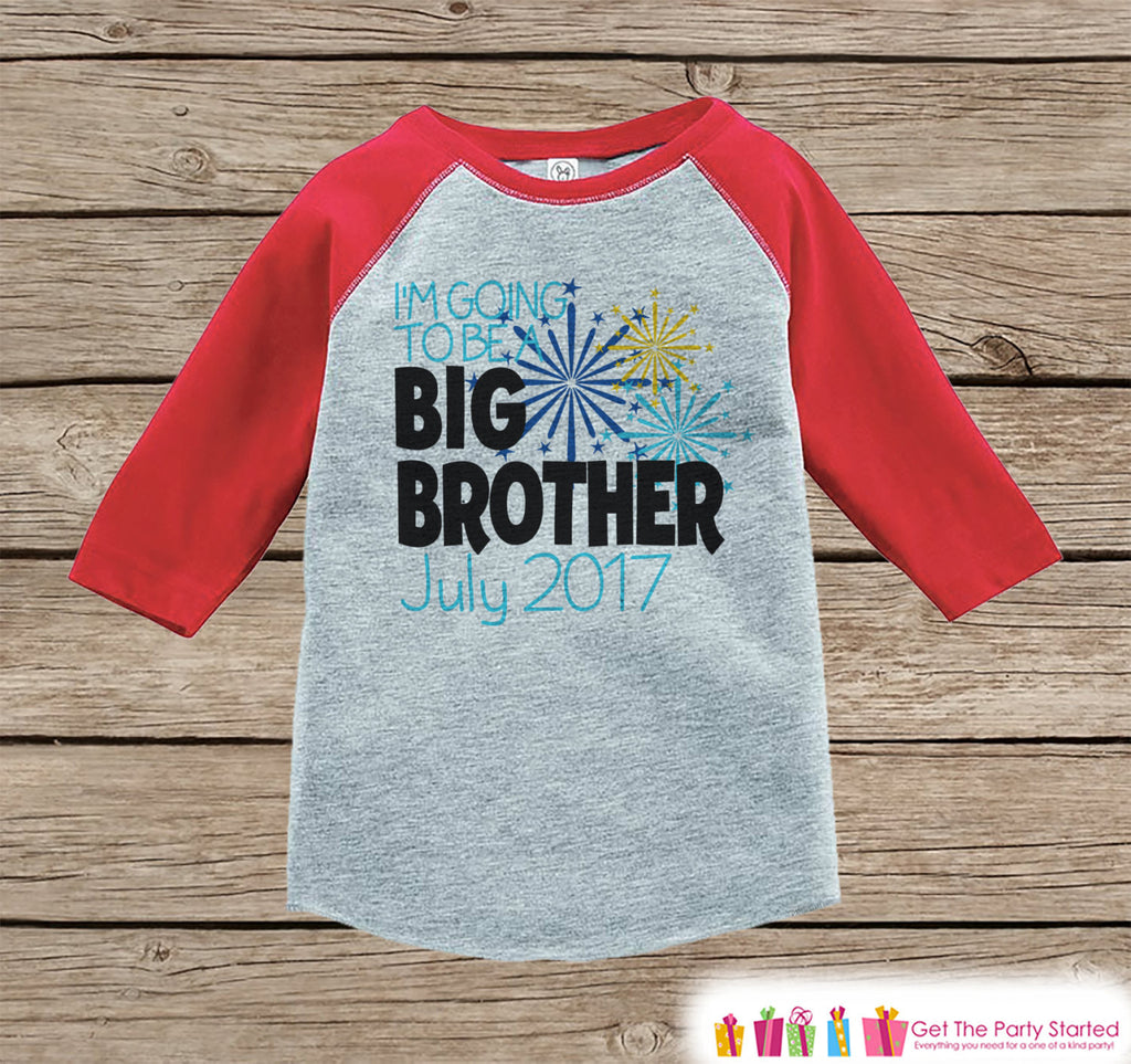 Big Brother Shirt or Onepiece - Sibling Outfits - Custom New Years Eve Outfit - Pregnancy Announcement - Sibling Reveal - Red Baseball Tee - Get The Party Started
