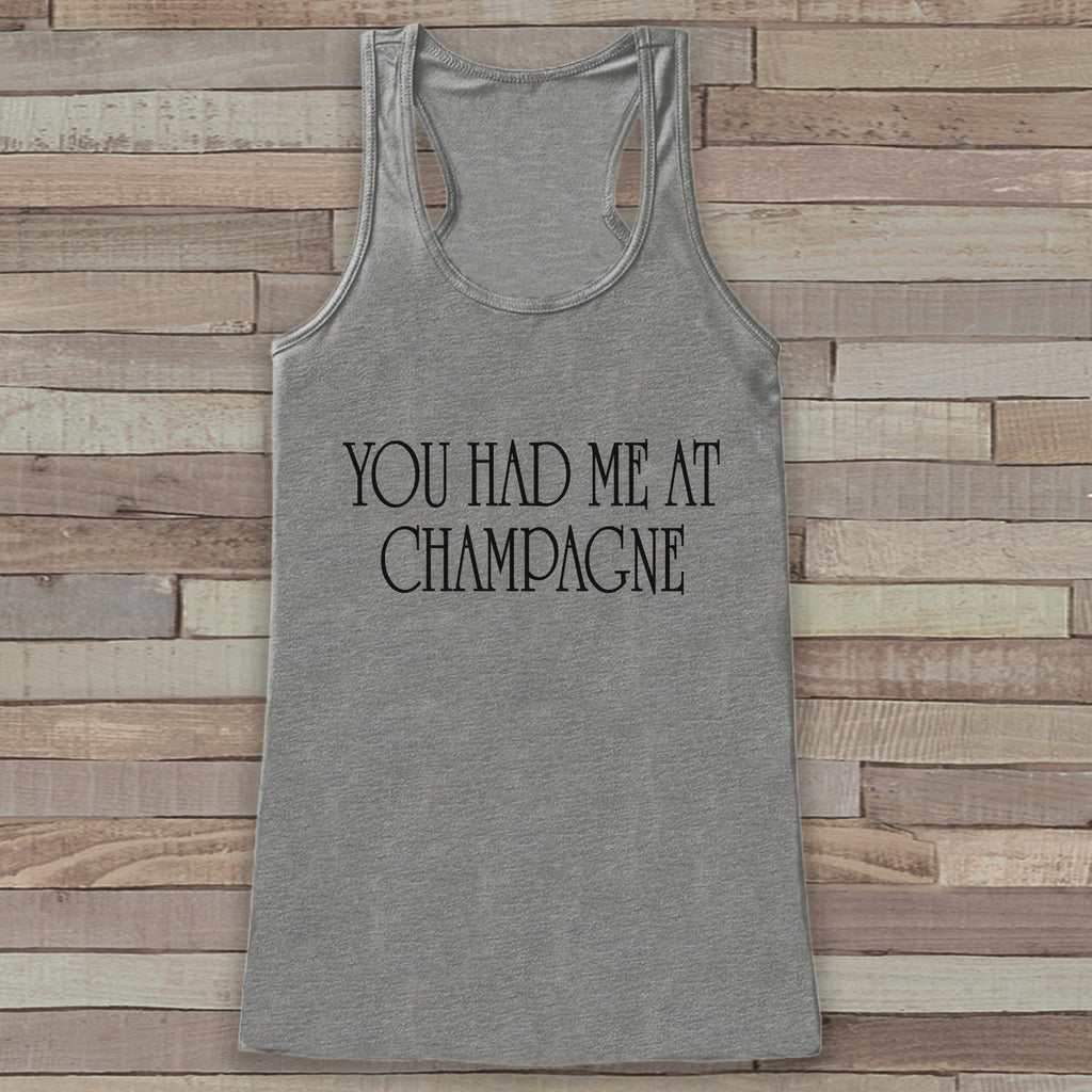 New Years Tank Top - Champagne Drinking Tank - Womens Tank Top - New Years Tank -  Grey Tank - Grey Tank Top - Funny New Years - Workout Top