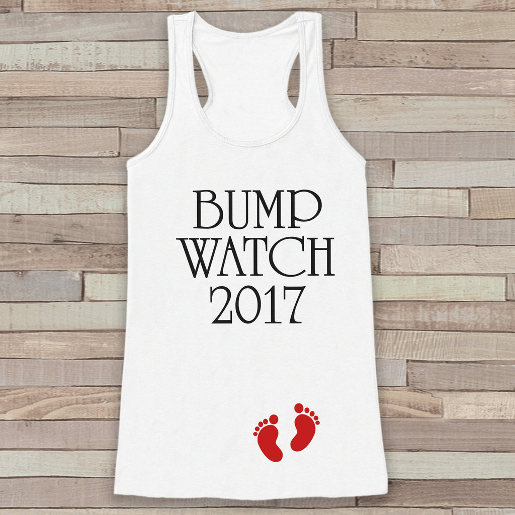 Bump Watch 2017 Tank Top - Baby Feet Shirt - Womens Tank Top - Happy New Year Tank -  White Tank - Pregnancy Announcement - Baby Reveal Idea - Get The Party Started