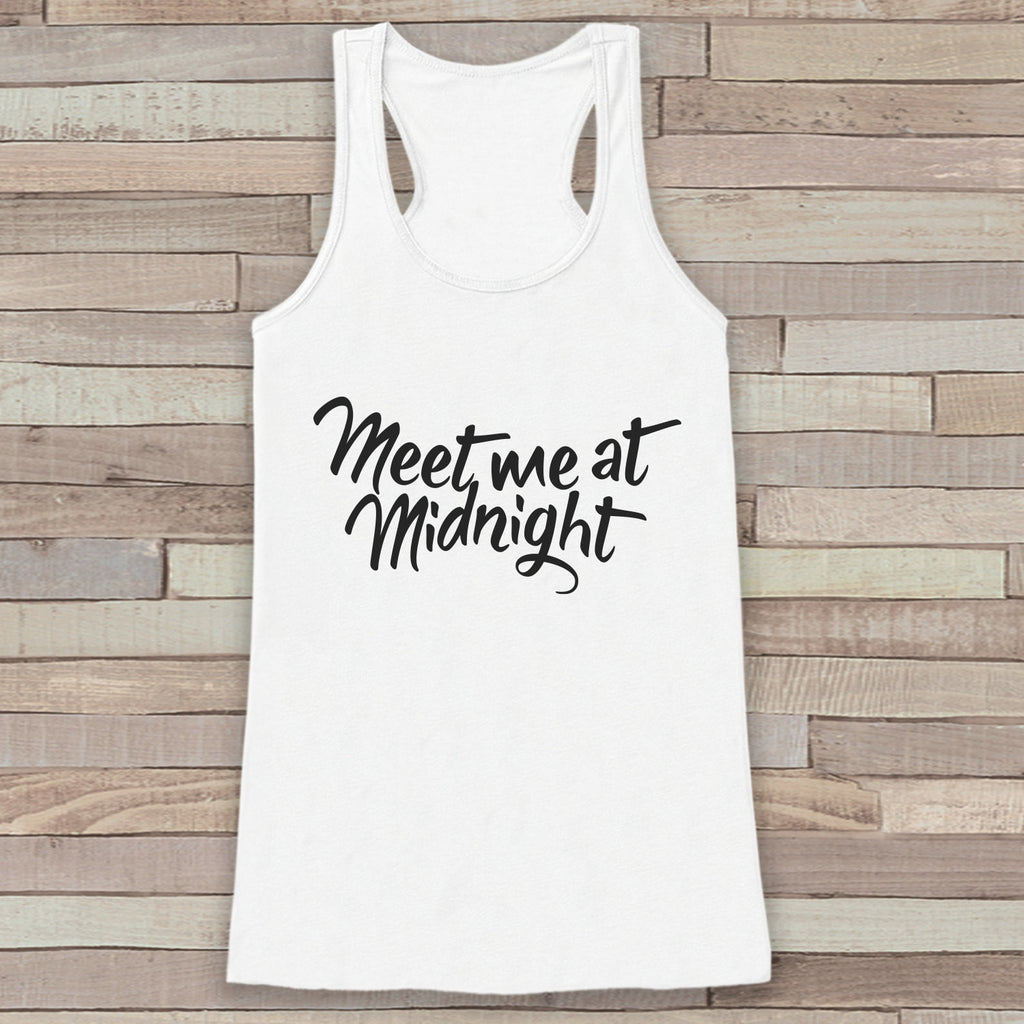New Years Tank Top - Meet At Midnight - Happy New Year - Womens Razorback - Happy New Year Tank -  White Tank - White Tank Top - Workout Top - Get The Party Started