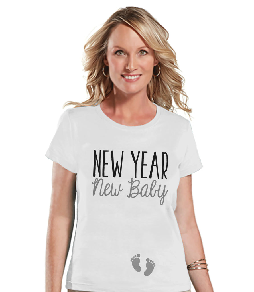 New Year New Baby Shirt - New Baby Reveal Idea - New Years Tee - Womens White T Shirt - White Tee - New Baby Reveal - Pregnancy Announcement