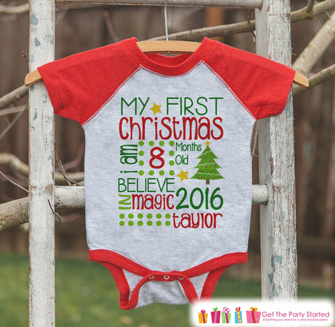 Baby Christmas Shirt - Kid Holiday Shirt or Onepiece - Custom First Christmas Shirt or Onepiece - Kids Christmas Pajamas - Holiday Outfit - Get The Party Started