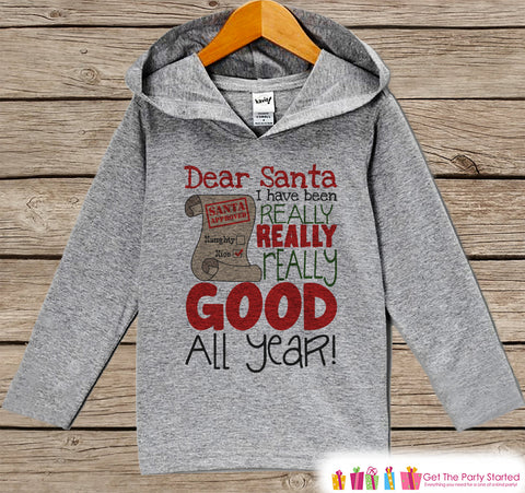 Dear Santa I Have Been Good - Kids Christmas Outfit - Grey Christmas Sweater - Kids Hoodie Pullover - Holiday Shirt - Baby, Toddler, Youth