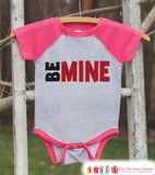 Girls Valentines Outfit - Be Mine Valentine's Day Shirt or Onepiece - Kids Pink Raglan Valentine's Shirt - Baby Red Valentines Day Outfit - Get The Party Started