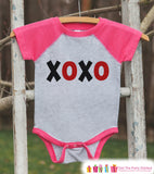 Girls Valentines Outfit - XOXO Valentine's Day Shirt or Onepiece - Kids Pink Raglan Valentine's Shirt - Red Black Baby Valentines Day Outfit - Get The Party Started