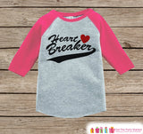 Kids Valentines Outfit - Heart Breaker Valentine's Day Shirt or Onepiece - Kids Pink Raglan Valentine's Shirt - Baby Valentines Day Outfit - Get The Party Started